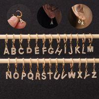 Altın Gümüş Renk Köpüklü CZ A-Z Harf Küpe İçin Erkekler Kadınlar Alerjik Ücretsiz Piercing Küpe Takı