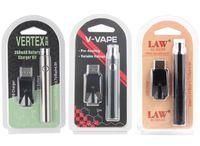 350 650 1100 mAh Ön ısıtma VV Volt Vape Kalem Pil Plastik Ambalajlı Kiti Vertex Kanunu V Vaper Elektrik Nargile Kalemler ayarlayın