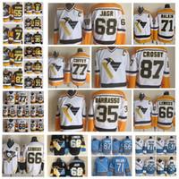 Moda Pittsburgh Penguins Retro Jersey 68 Jaromir Jagr 35 Tom Barrasso 77 Paul Coffey 66 Mario Lemieux Preto Mens costurado Hockey Jerseys