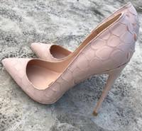 2019 el más nuevo otoño primavera mujeres negro Beige Pinhead Python serpiente patrón estilete tacón alto 12 cm mujer mujer vestido zapato 10 cm 8 cm