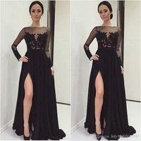 Kleid Roben DE Partei im Nahen Osten 2019 Frauen sexy Langarm Kleid Spitze Applique Chiffon Abendkleid 040