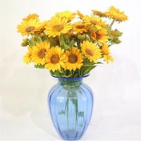 Simulazione Sun Crunchant Bunch (9 teste / pezzo) Simulazione Sun per la casa Vetrina Decorativa fiori artificiali