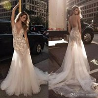 Berta Lace A Line Wedding Dresses Deep V- Neck Sweep Train Tu...