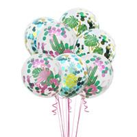 12 Inch Flamingo látex 30pcs Cactus Folha Balões Turtle abacaxi Confetti Balão Hawaii Tropical decoração do partido