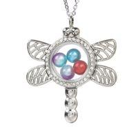 Libelle Glas Medaillon Anhänger Perle Käfig Leben Speicher Schwimmende Charme Anhänger Strass Halskette Mit Edelstahl Kette
