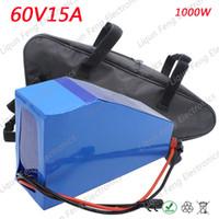 EU US Pas de taxe 1000W 1500W 60V Triangle de puissance batterie 60V 15AH Lithium ion batterie 60V Batterie de vélo électrique 67.2V 2A Chargeur.