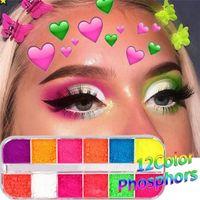 Fluorescent Neon Pigmento Sombra Makeup Palette Glitter Shimmer corpo Eyeshadow face unhas Cosméticos Arte Ferramentas 12 Cores / Box