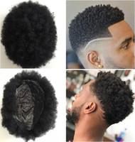 Hommes Système de cheveux Afro Cheveux Toupese Hommes Pièces de poitrine Super Full Fine Skin Toupee Jet Jet Black # 1 Remplacement des cheveux de la Vierge de Vierge Brésilienne pour hommes