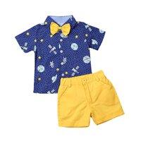 2019 Baby-Kinder-Hochzeit formale Partei Gentleman Anzugärmel- kurzen blauen Cartoon rocket-Druck-Hemd oben Kurzschluss-Kleidung Sets
