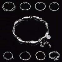 Top qualité bracelets en argent 9 styles d'argent bracelets de la chaîne de bijoux mis Mix gros bijoux en argent expédition libre - 0003YDHS