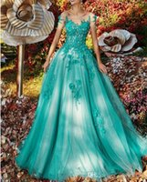 Plus Size Green Lake Alças A Linha Prom Dress Tulle Lace apliques Evening Formal Vestidos Árabe robe de soiree vestes de soirée