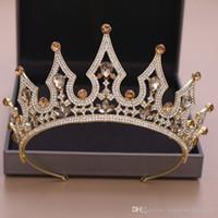 새로운 디자인의 럭셔리 크리스탈 웨딩 크라운 실버 골드 라인 석 공주 여왕 신부 티아라 왕관 헤어 액세서리 저렴한 고품질