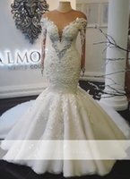 2019 Real Photos Sexy Jewel Neck Mermaid Wedding Dresses Swe...