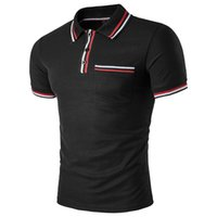 Fashion Men' s Polo Shirts with Color Strip Stitching Co...