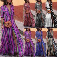 Zarif Kadın Boho Uzun Maxi Elbise Moda Lady Akşam Parti Yaz Plaj Elbiseleri Sundress Çizgili Gömlek Elbise