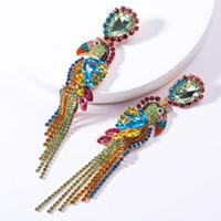 Luksusowe Kolorowe Kryształ Kryształ Zwierząt Frędzle Drop Kolczyki Wedding Jewelry Papuga Ptak Wisiorek Etniczne Dynda Kolczyki Dla Kobiet 1 Para