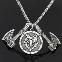 قلادة القلائد الرجال فايكنغ سلتيك الذئب الفأس تميمة قلادة الغراب رون طويل الرقبة سلسلة مجوهرات وطنية مجوهرات صديق هدية