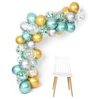 50pcs Balão Garland 12 polegadas Macaron Mint Verde Gold Silver Metallic Balões Arch Kit para o tema Jungle Party Supplies aniversário T200104