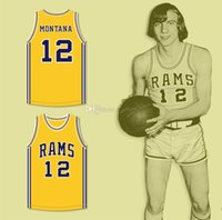 Joe Montana # 12 Ringgold 고등학교 노란색 레트로 농구 저지 남성 스티치 사용자 지정 번호 이름 유니폼