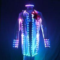 Full Color LED intelligente Cour Costume Style de l'Europe Cour Marshal Groom Vêtements de mariage Hommes Costumes Lumière EDM Musique Party scène Chanteur