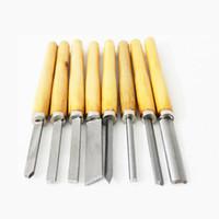 Set de cincel de Torno HSS Conjunto de 8 piezas para herramientas de torneado de madera Chisel Gouge Torpe de madera herramienta de torneado con asa