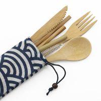 7PCS أطباق المحمولة تعيين ملاعق خشبية في الهواء الطلق مجموعة أدوات المائدة الخيزران سترو سكين شوكة ملعقة عيدان أواني مجموعات للسياحة