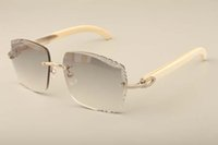 Nueva fábrica de las gafas de sol de moda de lujo directa T3524014 gafas de sol cuerno blanco natural lentes de grabado, privado personalizado, nombre grabado