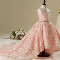 palla pizzo Vinatage sposa ragazze di fiore abiti belle novità Blush Pink tulle increspato fiori Handmade abito spettacolo della ragazza abito da 2.019 a buon mercato
