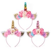Einhorn-Stirnband-Blumen-Kind-Mädchen-Blumenhaarreif mit Glitter Metallic Einhorn Winkel Rabbit Ears Partei-Haar-Zusätze DHL FJ207
