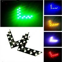 Автомобиль аксессуар Стайлинга автомобилей 14SMD LED Стрелка Панель Желтый Зеленый Красный Синий Для Автомобиля Зеркало заднего вида Индикатор указателя поворота Парковка