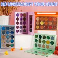 Нет логотипа! 15 цветов матовый блеск теней для теней для теней для век яркие пигментированные зеленые оранжевые тени для век Pallete принимают логотип печать