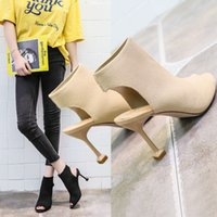 European and American fish mouth shoes open- toed high- heeled...