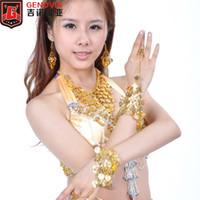 Stage Wear 5 stks Set Ketting / Armbanden / Oorbellen Belly Dance Costume Accessoires Goud / Zilver