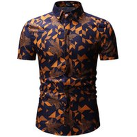 Men Shirt Summer Style Palm Tree Print Beach Hawaiian Shirt ...