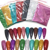 50 g / paquete Holográfico Brillo Polvo Brillo de azúcar Nail Glitter Venta caliente Polvo de cromo de polvo para decoraciones de arte de uñas 26 Color