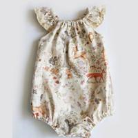 La niña del mameluco del verano infante recién nacido lindo niñas pequeñas florales ciervos impresión mamelucos del bebé ropa de la muchacha de encaje Mono Niños ropa B11