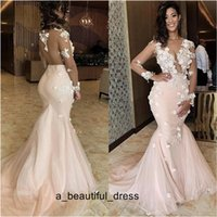 Illusion sirena Prom Dresses puro Collo del merletto 3D Appliques rilievo maniche sweep treno Backless di sera del partito di usura Pageant abiti ED1131