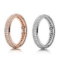 Anillo de diamante de la nueva manera de Doble Fila CZ Diamond Set caja original para Pandora 925 Señora envío libre del anillo