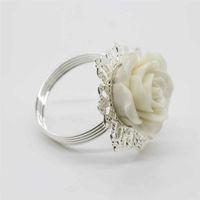 Белая смола Роза салфетка кольцо партии развлекать свадебные салфетки ткань декоративные вычет стол банкетный ужин украшения