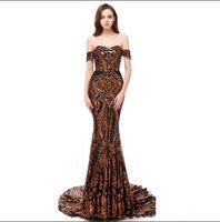 2019 Dorado de Lujo Black Encaje Vestidos de Prom Asesos Sirena Off Hombro Africano Africano Vestidos Árabes Vestidos Especial Ocasas Vestidos Tarde Use Custom Hecho