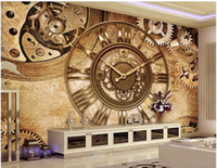 Custom photo mural 3d wallpaper Retro gear clock background ...