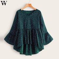 Blouses Femmes Chemises Chemises pour femme Polka Dot Imprimer Femme Blouse Papillon Manchon Loose V-Cou Tops Péplum Chemise Fashion Vols longs