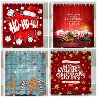 Cartoon Weihnachten Digital Printing Duschvorhang Polyester-Faser Bad Zimmervorhänge Weihnachten Innendekorationen Wasser-Beweis Hohe Qualität