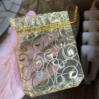 """100 piezas / Set bolsas de organza 9x11 Cm Champagne de Organza bolsas del regalo de boda joyería de embalaje Bolsas 3,5 \ """"X4.3 \"""""""