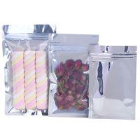 1000pcs / lot de una lámina transparente de aluminio bolsa sellada con cierre de cremallera bolsa de envasado de alimentos al por menor bolsa resellable de la hornada bolsas de embalaje LX2730