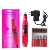 Taşınabilir Manikür Pedikür Seti Kalem Şekli Elektrikli Tırnak Matkap Makinesi Sanat Salon Manikür Dosya Lehçe Aracı Manikür Kitleri + 6 Bits JJD1925