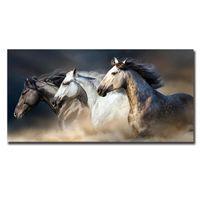Новый Три черно-белый Запуск лошади Холст Картина Современные Unframed стены искусства Плакаты Фотографии Украшение для домашнего офиса