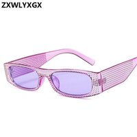 ZXWLYXGX Small square sunglasses women imitation diamond sun...