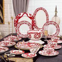 Clássico Chinês Vermelho Bone China Conjunto De Grupo De Porcelana Conjunto De Café De Café De Café Cerâmica Tigelas Placas Copas e Disco Housewarming Presente