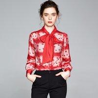 럭셔리 하트 인쇄 나비 넥타이 넥 셔츠 2021 긴 소매 여자 활주로 옷깃 버튼 셔츠 봄 사무실 숙 녀 디자이너 블라우스 플러스 사이즈 가을 겨울 클래식 탑스